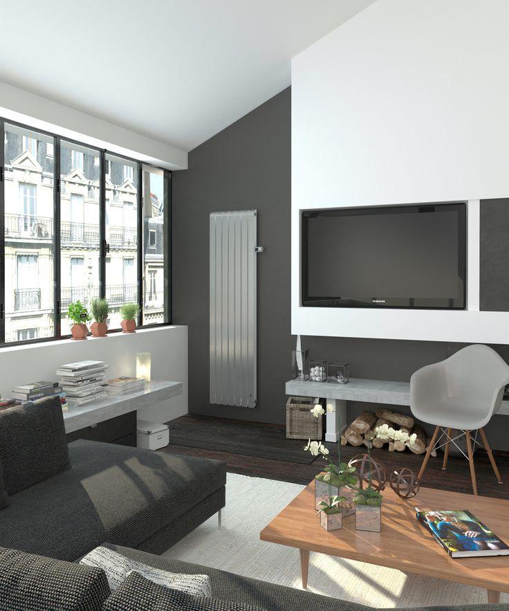 Radiateur connecté vertical Mythik Thermor  Finition aluminium satiné #salon design