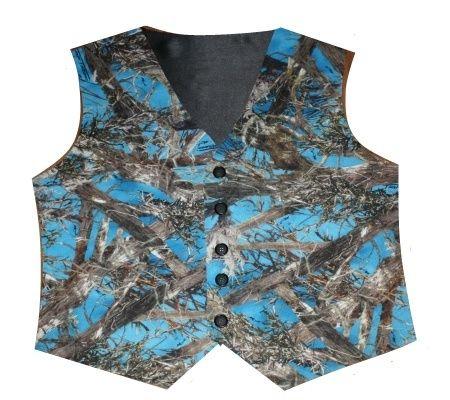 """True Timber Blue """"MC2"""" Camo Vests - Blue Camo Vest - Camo Wedding - Satin Camo Vest - $59.95"""