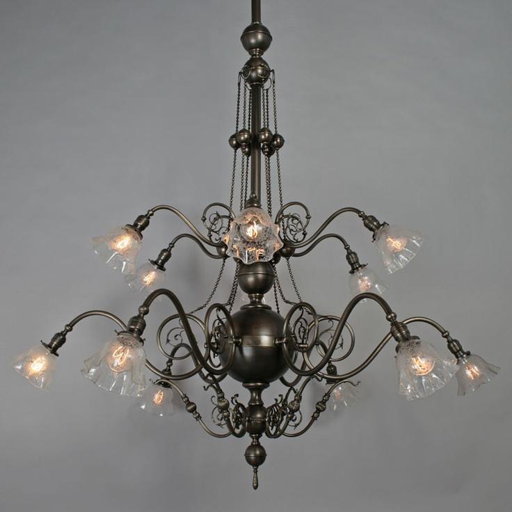 Super spectacular 12 light commercial chandelier c1905