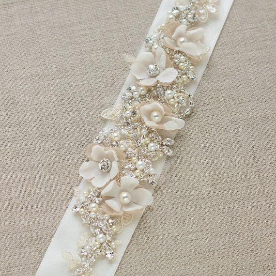 bridal sash chagne wedding dress belt unique