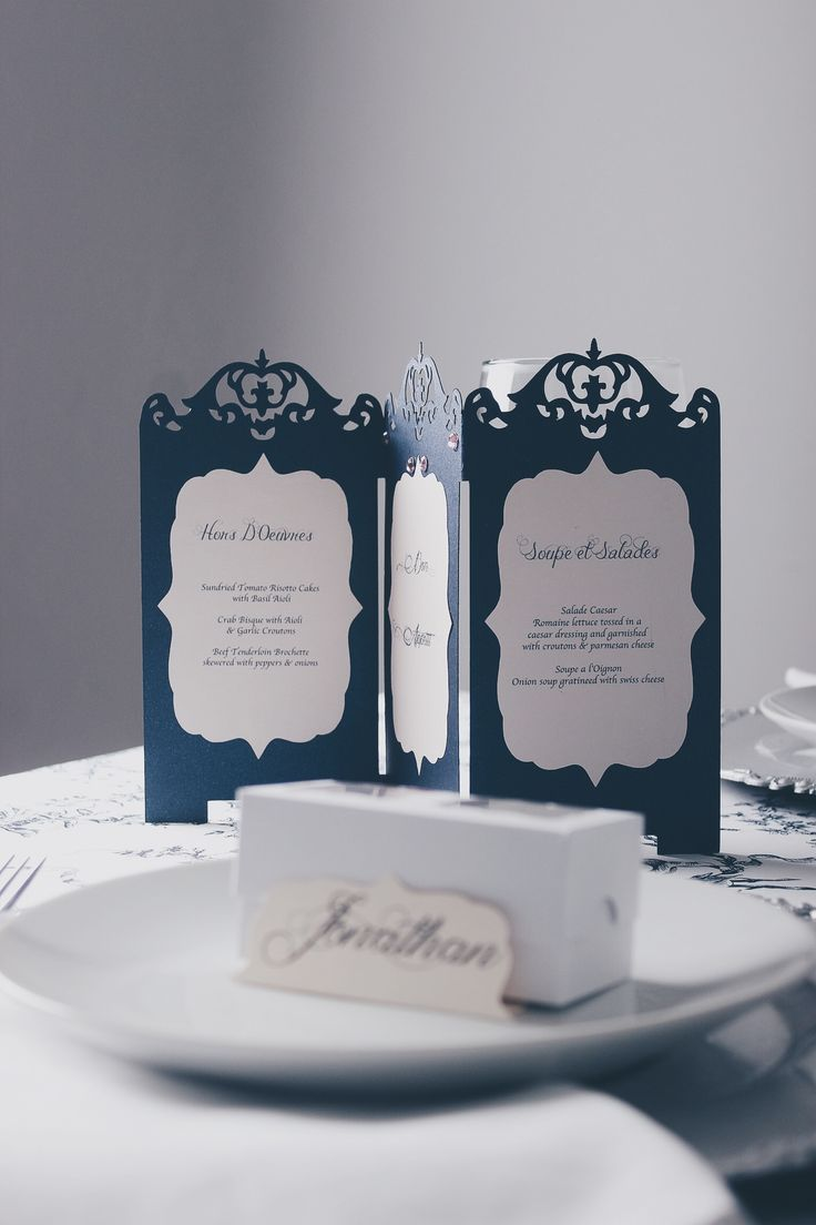 French Countryside Menu, Name Tag and Favour Box  for The Emerald Room - d3tinvitations