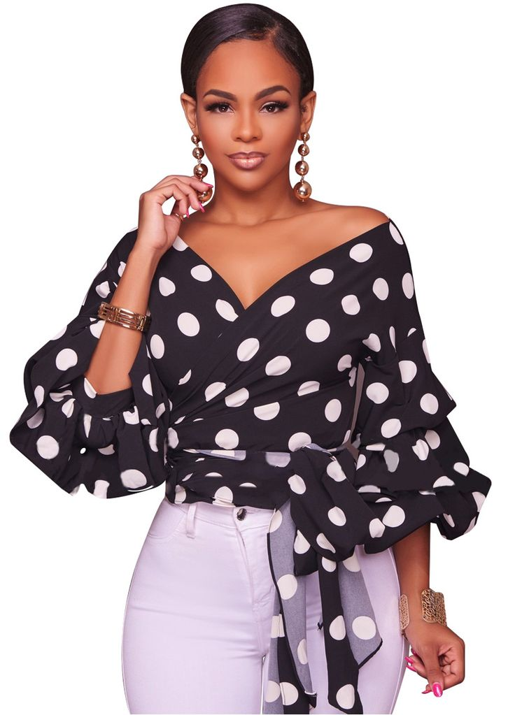Kirah Polka Dots Ruffle Sleeves Top_Clubwear Tops_Clubwear Clothing_Sexy Lingeire   Cheap Plus Size Lingerie At Wholesale Price   Feelovely.com
