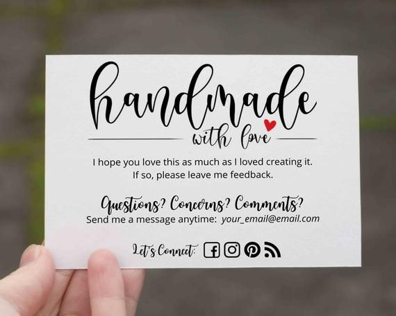 Handmade Item Thank You Cards Editable Canva Template Etsy In 2021 Small Business Cards Business Thank You Cards Diy Business Cards