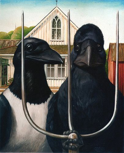 "arsvitaest: gotico corvide, illustration from maurizio a. c. quarello's book ""taccuino di un animalista,"" 2008. (by laura@popdesign)nytwocats[p+f]: Raven, Art, Illustration, Gotico Corvide, Blackbird, Taccuino Di, Crows, American Gothic"