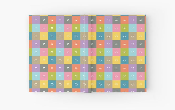 Emoji Emoticon Pattern Illustration by Gordon White | Emoji Open Hardcover Journal Available @redbubble --------------------------- #redbubble #emoji #emoticon #smiley #faces #cute #addorable #hardcover #journal #pattern
