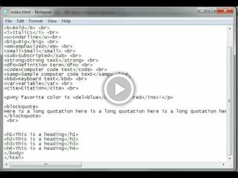 HTML Tutorial 06 - Text Formatting