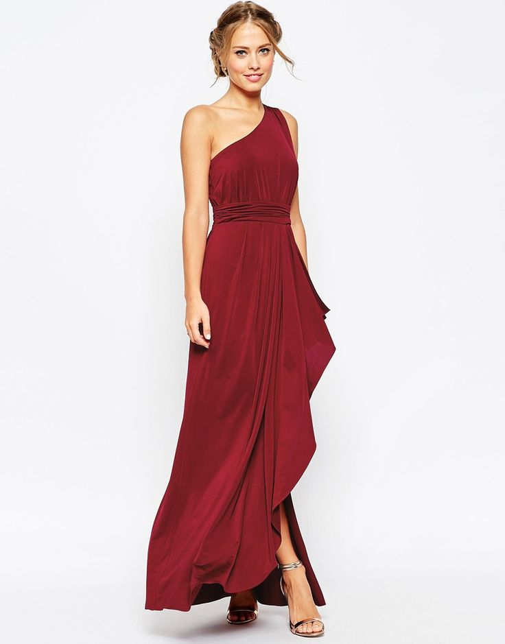 It'd be nice if they didn't call this color OXBLOOD. LMAO. Channeling some Carrie at the wedding. ASOS WEDDING One Shoulder Sexy Slinky Maxi Dress