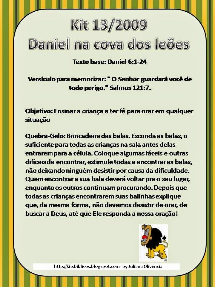 Ensinar Brincando Licao Biblica Daniel Na Cova Dos Leoes