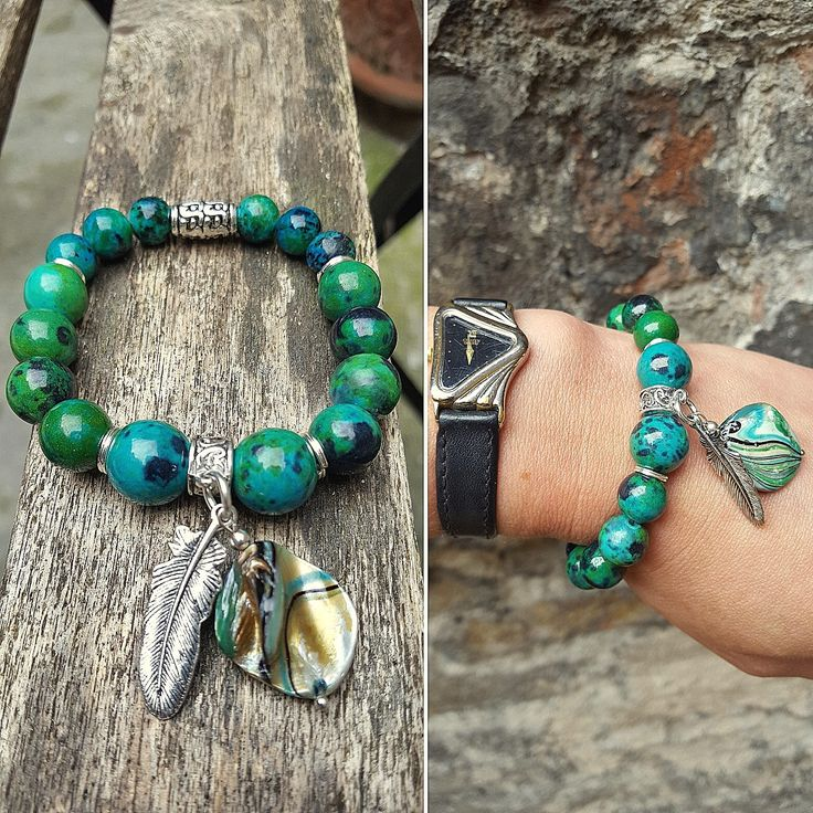 Boho gemstone bracelet on elastic string. Chrysocolla beads with mother of pearl bead and feather charm.