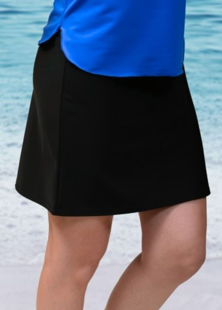 A short version of our basic black long swim skirt perfect for just about anything. Special swim fabric makes it more breathable for warm weather. This skirt does not have shorts/leggings attached. Made in the USA