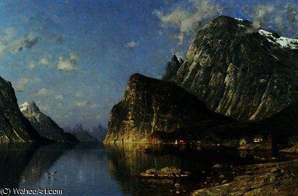Fjord Sogne, norvège de Adelsteen Normann (1848-1918, Norway)