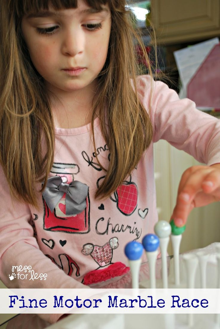 Fine Motor Marble Race - a great fine motor activity! This is a cool game for kids to play against each other or alone.