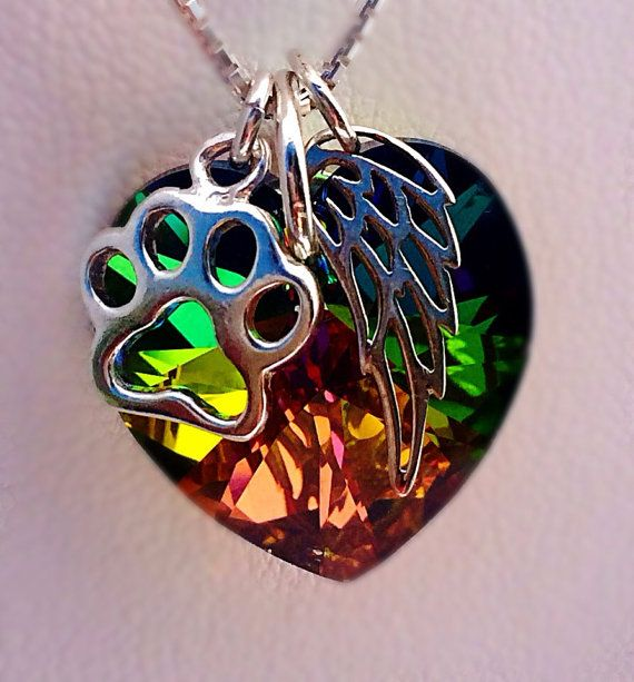 Rainbow bridge pet loss necklace Pet Loss Pet by KristiKayDesigns