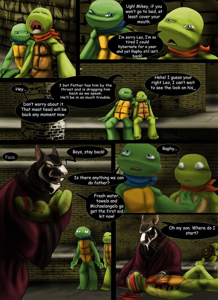 This took longer then usual again last page i was really pleased with the backgrounds because nothing wa tmnt at heart