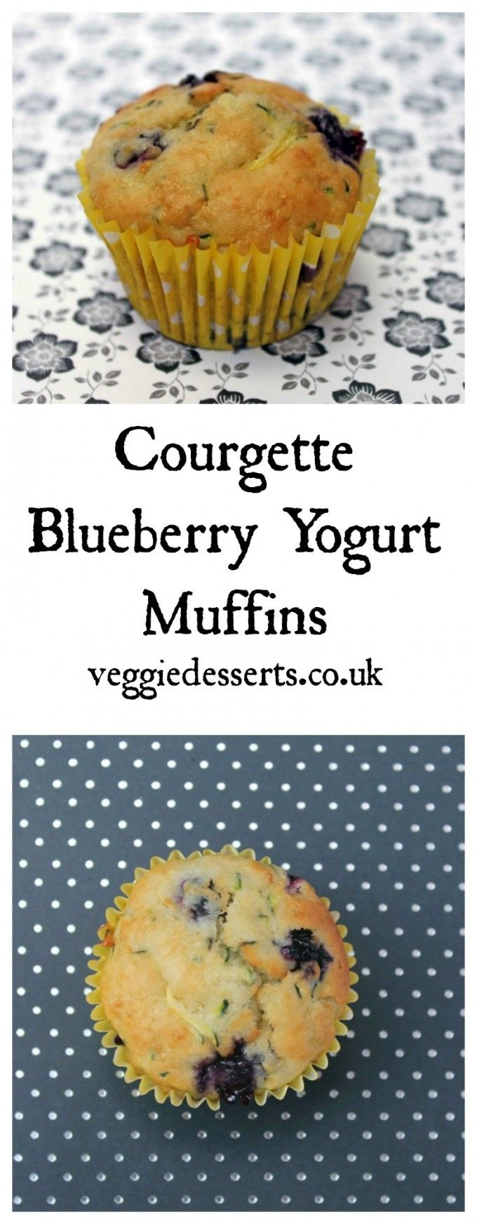 Courgette (zucchini) Blueberry Yogurt Muffins | Veggie Desserts Blog >>> These healthier blueberry yogurt muffins are a lighter version of the classic, plus they're full of courgettes/zucchini.  veggiedesserts.co.uk