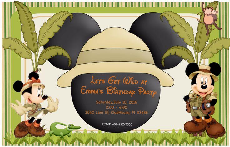 Mickey Safari Invitation   Mickey Invitation   Mickey and Minnie Invitation   Mickey Mouse Invitation   Twins Party Invitation   Mickey by KidsPartyDreams on Etsy