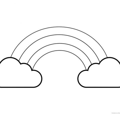 Simple Large Rainbow Template with Clouds {perfect for