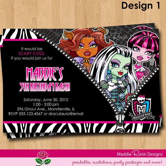 Monster High Invitation Printable Birthday By MaddieRoseDesignz, $9.99  Address U0026 Return Labels ...