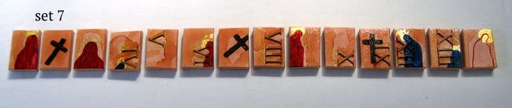 Inspired by and referencing my Catholic upbringing.  set (7) of 14 Stations . $295 NZ . Materials: powdered chalk paint, shellac, acrylic, gold and silver leaf on mini canvas' 5 cm x 7 cm each.  www.lizmcauliffe.com