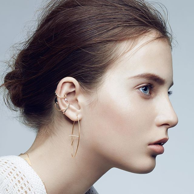Hirotaka Ear Cuffs and Floating Diamond Bar Earring #hirotaka