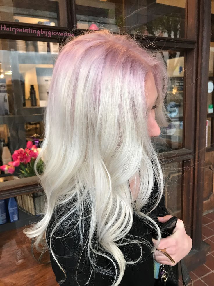 Platinum Blonde And Pink Hair Stunning Platinum Hair With A Subtle Rose Gold Shadow Root