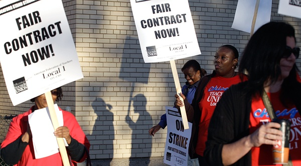 A teacher strike begins in Chicago, amid signs that a deal isn't close. http://www.nytimes.com/2012/09/11/education/teacher-strike-begins-in-chicago-amid-signs-that-deal-isnt-close.html?_r=1