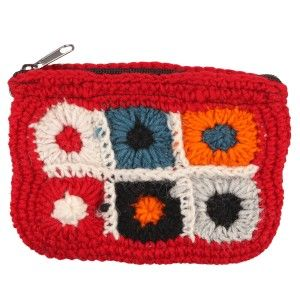 Woolen Coin Purse. t is basically of different colours knitted into a floral design