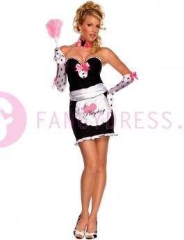 """Dit Playboy Landgoed Meid kostuum bestaat uit:  Een zwart/roze jurk met een roze schort bedrukt met 'I LOVE Playboy. """"  Een paar roze handschoenen bedrukt met zwarte Playboy bunny's.  Een roze strikje met een zwarte Playboy bunny op de voorkant.    Maten voor dit kostuum zijn:  X small vrouw maat 32-34  Small vrouw maat 34-36  Medium vrouw maat 36-38  Large vrouw maat 38-40"""