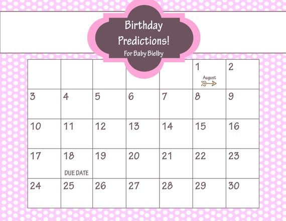 printable due date calendar baby shower game guess the date baby girl pink and brown. Black Bedroom Furniture Sets. Home Design Ideas