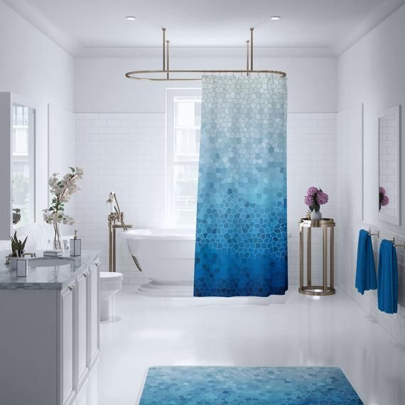 Blue Ombre Mosaic Shower Curtain Fabric Blue Teal Coastal Etsy