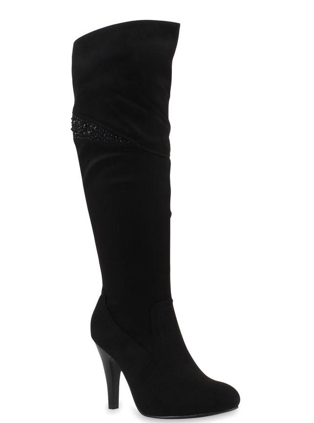 Overknee Stiefel Schuhe Damen High Heels 2477 Schwarz 37
