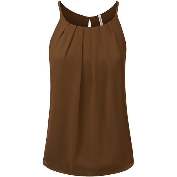 JJ Perfection Women's Round Neck Front Pleated Chiffon Cami Tank Top (66 DKK) ❤ liked on Polyvore featuring tops, camisole tank, brown cami top, chiffon camisole tops, camisole tank tops and brown camisole