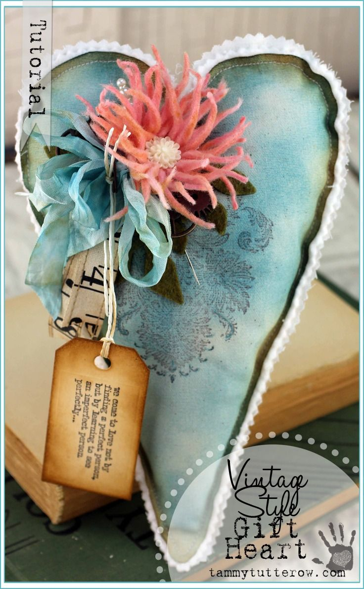 Tammy Tutterow Tutorial | Stuffed Fabric Gift Heart with Die Cut Wool Felt Flower featuring Tim Holtz dies.
