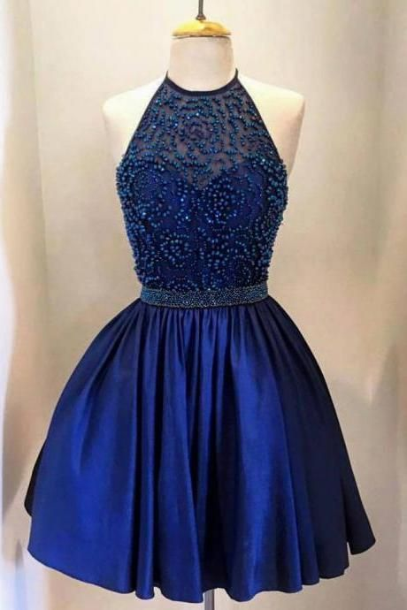 Charming Halter Short Homecoming Dress,Floral Beaded Prom Dress,Homecoming Gowns,Cocktail Dress,Graduation Dress,Evening Party Dress,Short Formal Gowns,Short Prom Dress for Junior Plus SIze