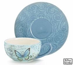Blue Butterfly teacups and saucers come in a set of four. The Mariposa design on the tea cup is complimented by a solid blue saucer with a swirled design.  sc 1 st  Pinterest & 47 best Tea Cups n Dessert Plates images on Pinterest | Dessert ...