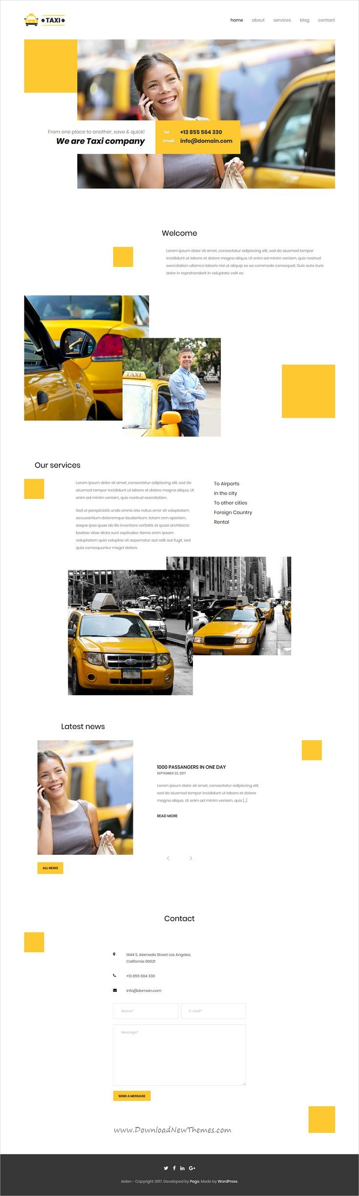 Aiden is clean, minimalistic and modern design 4in1 responsive WordPress theme for #taxi company website download now #webdesign