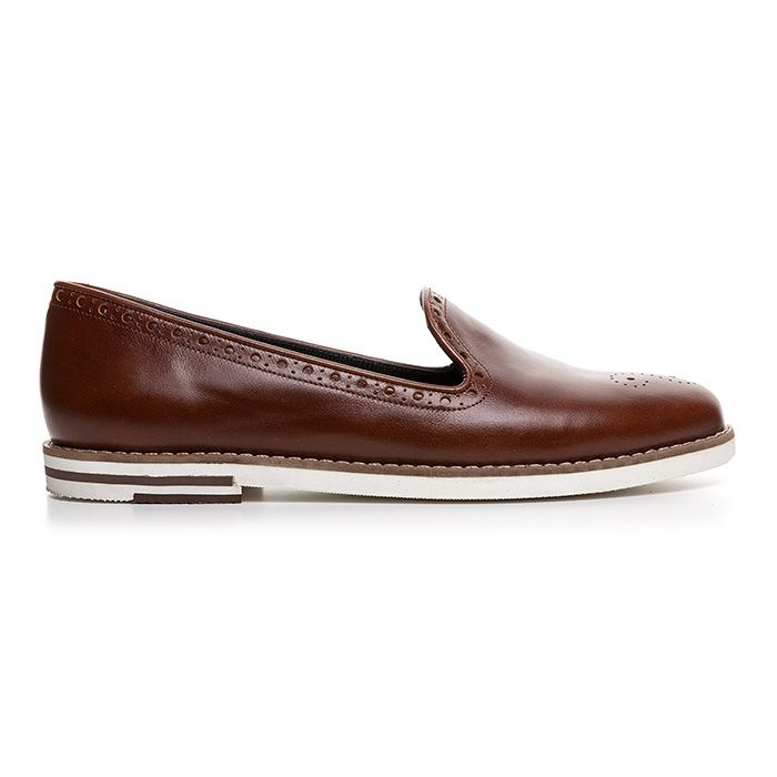 107E02_COGNAC LEATHER www.mourtzi.com #cognac #camel #shoes #slipons #flats