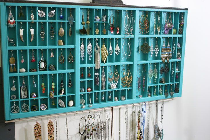 LOVE VALENTINE Jewelry Display Made With Vintage Type Drawer, Large Printer Drawer Jewelry Display, Accessories Storage, Earring Holder. $129.00, via Etsy.