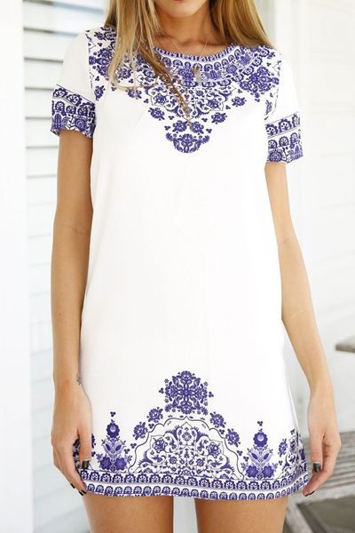 Retro Floral Print Short Sleeve Dress