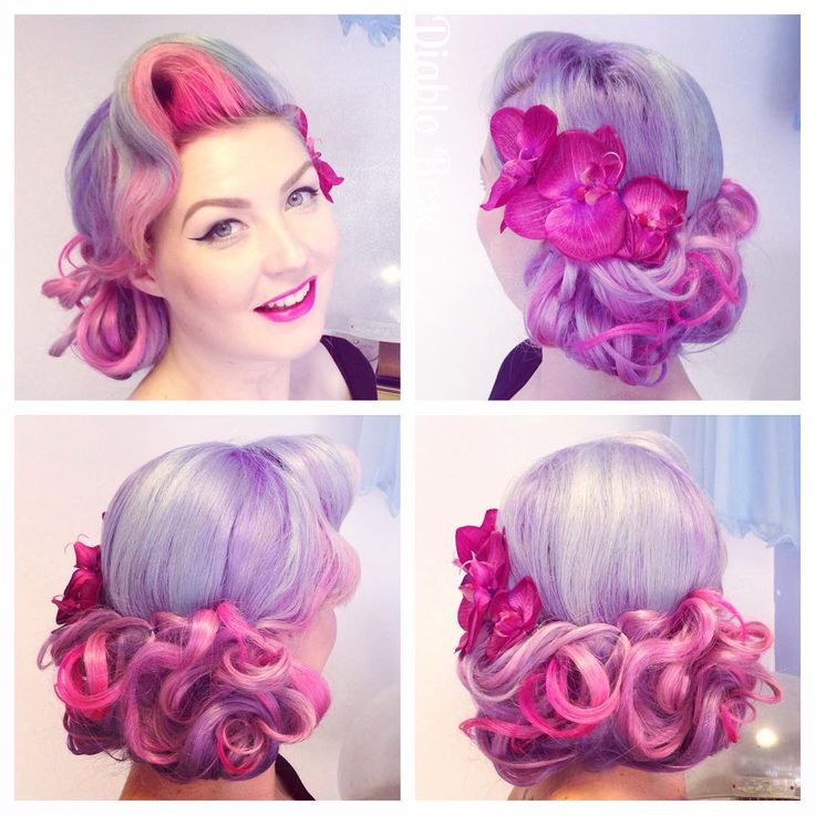 I had such a great day at @lekeuxvintagesalon_cosmetics , Leeds. A morning of lovely clients followed by my hair masterclass demo session! More will be booked in soon in all our salons so keep watching for the date info!! I created this faux clipped bob with my @vpfashion 613A custom colour hair extensions. Plus one of my favourite hair flowers from @ladylucksboutique #purplehair #fauxbob #vintagehair #retrohair #vintagewaves #vpfashion #ladylucksboutique #diablorose #lekeuxvintagesalon