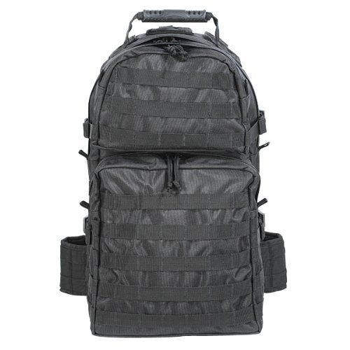 Voodoo Tactical Enhanced 3-Day Assault Pack Black 15-817101000. Molded custom back panel for increased comfort. Removable, adjustable padded kidney belt with side release buckle. Multiple universal straps on the side and bottom of the pack. 2 rear zippered compartments. Measures 15L x 8W x 19H.