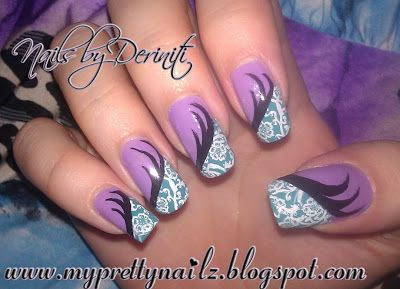 The 25 best edgy nail art ideas on pinterest edgy nails flowery purple and teal nail art design and video tutorial prinsesfo Choice Image