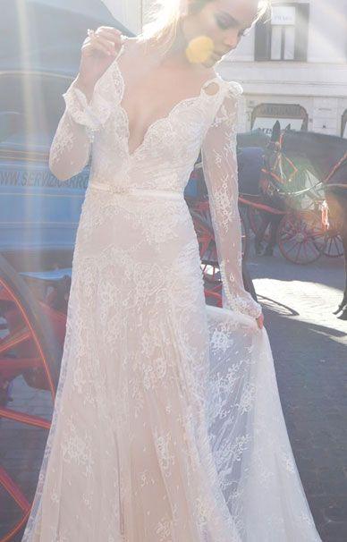 Кружевное свадебное платье с открытой спиной Inbal Dror   смотреть фото цены купить