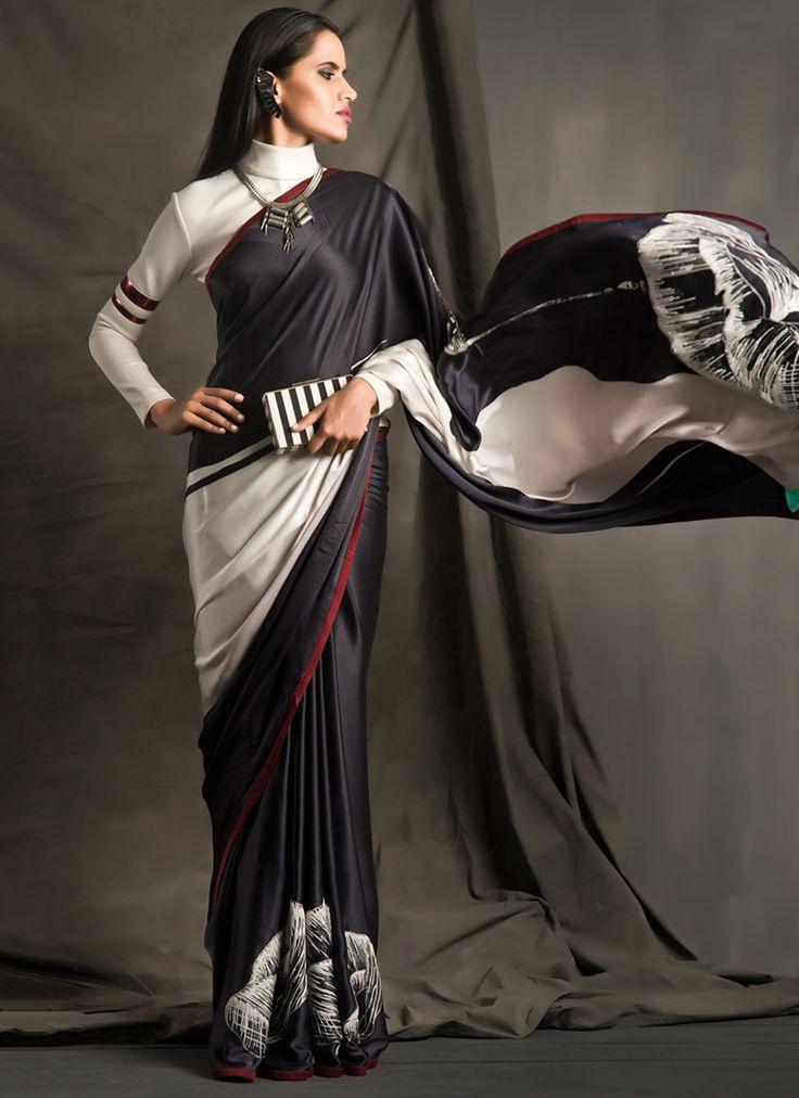 Fabulous Black N White Satya Paul Saree