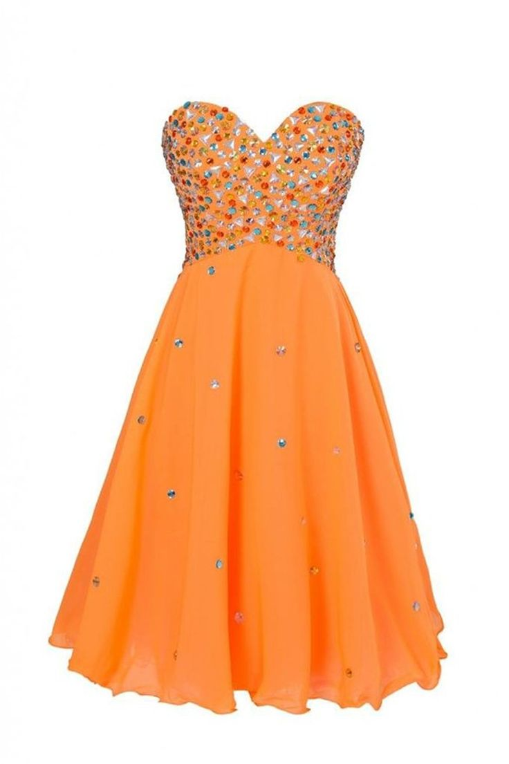 Mezuniyet Elbiseleri 2016 Vestidos 15 Anos Corto Cheap Short Orange Homecoming Dresses with Crystals