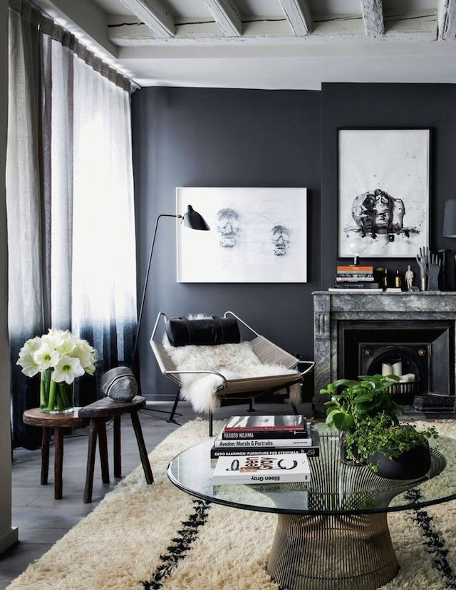 How to decorate with black - a great modern Scandinavian style room with inky black walls