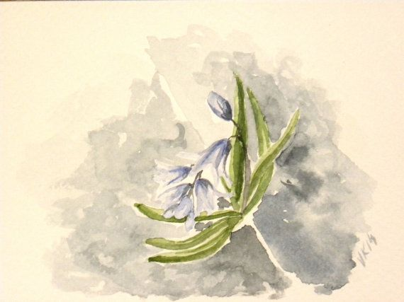 Siberian squill. Original watercolor painting by EarlyMorningWalk