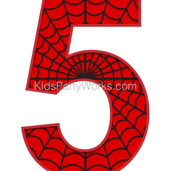Spider Party Printable Number 5 Centerpiece Spider Themed Etsy In 2021 Spiderman Theme Party Spiderman Party Spiderman Birthday Party