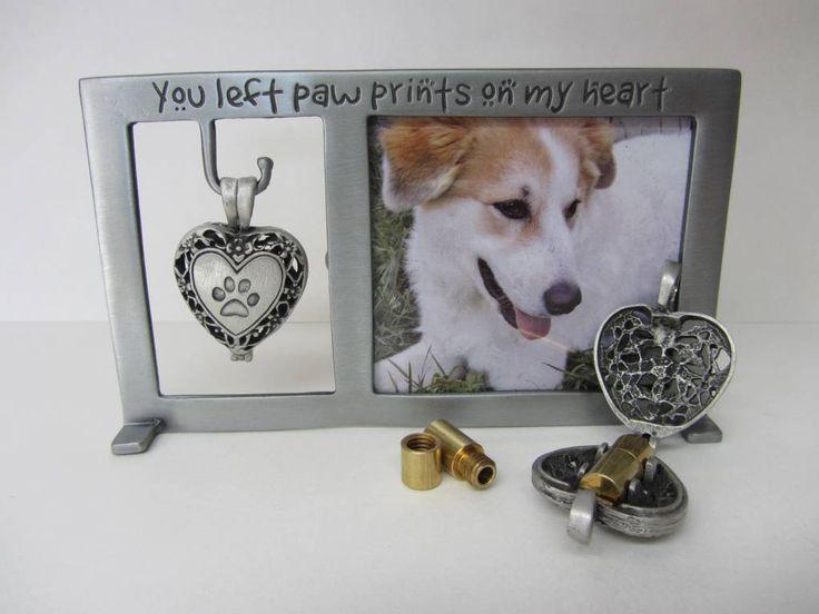 Een metalen fotolijst met een hangend medaillon met daarin een klein ashangertje. Een mooie herinnering aan een overleden hond.