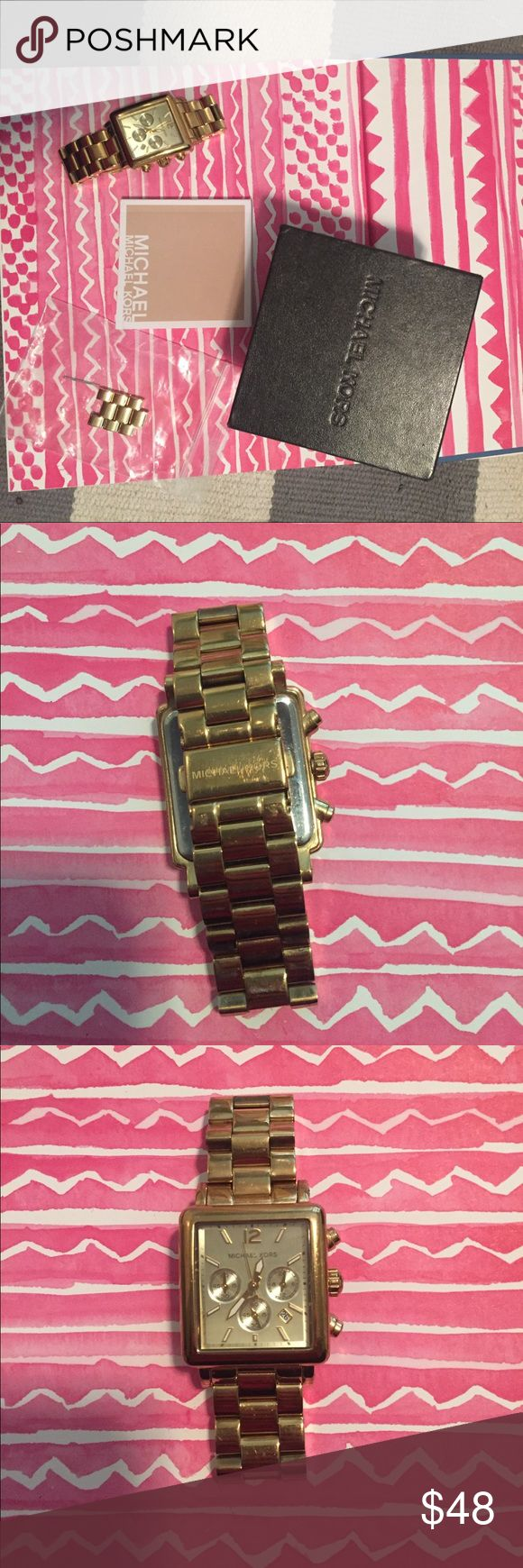 """Michael Kors Gold Square Watch Excellent used condition. Comes with all the original packaging-- booklet, box, additional link. Stylish oversized watch in """"gold."""" Very classic. Just needs a new battery. Michael Kors Accessories Watches"""